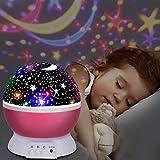 UBEGOOD Stelle Lampada, Proiettore Stelle Luce Notturna per Bambini con 4 Colori Lampadine LED 3 Offrire 8 Combinazioni Diverse Cosmos Stella lampada Ruotabile Proiettore Luci per Regali-Rosa