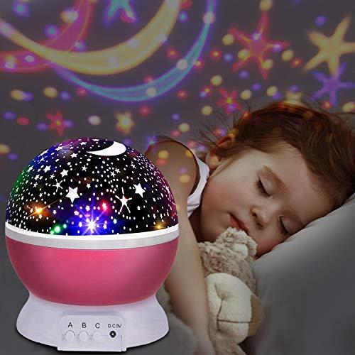 UBEGOOD LED Star Projektor Projektor Lampe 360° Grad Rotation Sternhimmel Projektor 4 LED Lampen 8 Licht Modus Farbwechsel Kinderlampe...