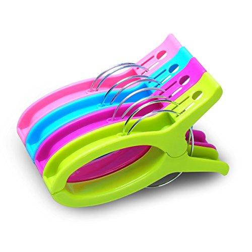 MINGZE 4 Piezas Pinzas de Ropa, Fuerte Clips Toalla Playa, Colores Brillantes Moda Clip de plástico Grande para sillas Salones Piscina, Resistentes Mantenga Sus Toallas Ropa despedido o Deslizamiento