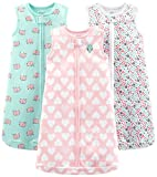 Simple Joys by Carter's Baby Girls' 3-Pack Cotton Sleeveless Sleepbag, Pink Heart, Floral, Mint Elephants, 6-9 Months