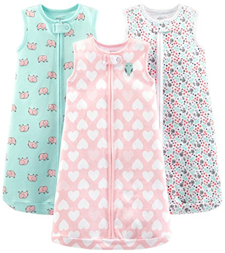 Simple Joys by Carter's 3-pack Cotton Sleeveless Sleepbag Wearable Blanket Sleepers Pink Heart, Floral, Mint Elephants Medium: 6-9 Months, 12.5 - 21 lbs , 1 er-Pack