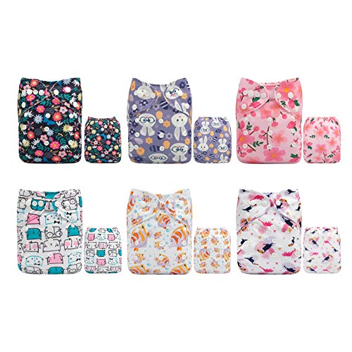 ALVABABY Cloth Diaper One Size Adjustable Washable Reusable for Baby Girls and Boys 6 Pack with 12 Inserts 6DM37