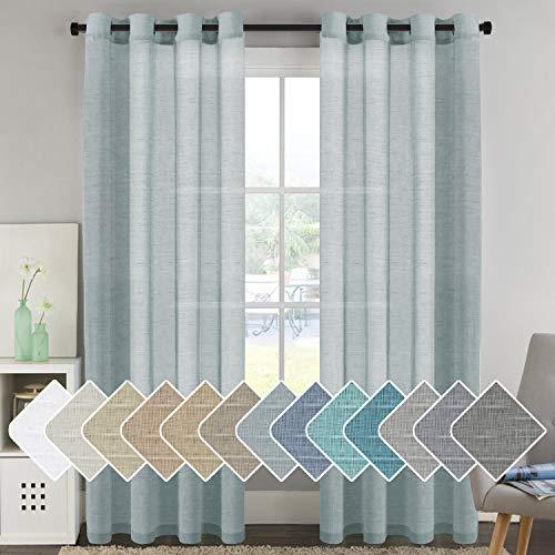 H.VERSAILTEX Linen Sheer Curtains 96 inches Long Pair Set Linen Textured Sheer Curtains Nickel Grommet Window Treatment Panels for Villa/Hall/Parlor, Open Weave - Teal - 52' W x 96' L