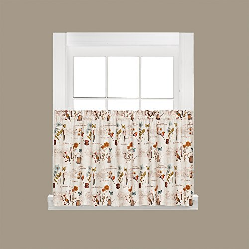 SKL Home by Saturday Knight Ltd. R7149500036T09 Le Jardin Tier Curtain Pair, Multicolored, 57 inches x 36 inches
