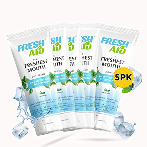 Best Natural Toothpaste for Dry Mouth and Bad Breath (5 PK) - Fresh Mouth Toothpastes. SLS Free, Fluoride Free, ANTIPLAQUE, Vegan. No Artificial Dyes, Flavors, sweeteners. Made in Greece.