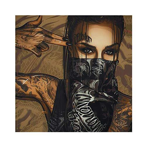ArtWork Wearing Mask Tattoo Girl Portrait Pittura Poster e stampe su tela Wall Art Picture for Living Room Home Decor 40x40cm/15.7'x15,7' Senza cornice