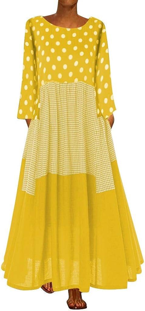 iQKA Vestido Womens Plus Size Vintage Bohe Wave Point Print Loose Long Dress Long Sleeve O-Neck Maxi Dress M-5XL