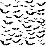 Decoración de Halloween 3D Bats, 84 unidades, vinilo realista 3D, pegatinas de pared con cinta de espuma de doble cara para Halloween, fiestas, interior y exterior, 4 tamaños diferentes
