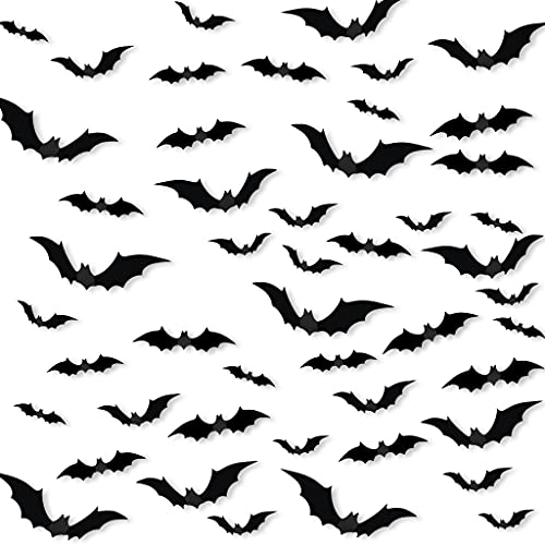 Halloween 3D Bats Decoration, 84 PCS Realistic PVC 3D Scary Bats Wall Stickers with Double Sided Foam Tape for Halloween...