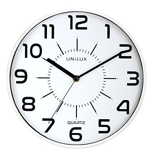 Unilux 400094282 nicht-tickende Wanduhr POP in weiss mit schleichendem Uhrwerk 28,5 cm Ø großes Ziffernblatt ohne Ticken