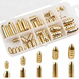 OROOTL Fishing Sinkers and Weights, 50pcs Brass Bullet Weight Set Lead Free Fishing Worm Weights Set for Texas Rig and Carolina Rig Fishing Tackle Box 1/16oz-3/8oz