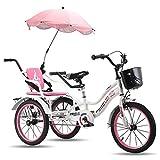 Triciclo de Adultos Triciclo Adulto Adult Tricycle 18 pulgadas 3 ruedas bicicleta para niños, triciclos niños niñas niños bicicletas con pueden tomar niños pequeños y bebés, truco de tres ruedas bikes
