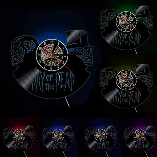 ZZLLL Día de los Muertos Reloj de Pared de los Muertos cráneo Colgante de Pared Arte Reloj de Disco de Vinilo Halloween Muerte cráneo Colgante de Pared Arte decoración de Terror -con Led