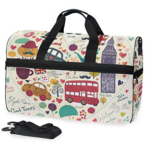 LUPINZ London Romantic Elements Weekend Bag Overnight Carry On Handtasche Sport Gym Bag mit Schuhfach