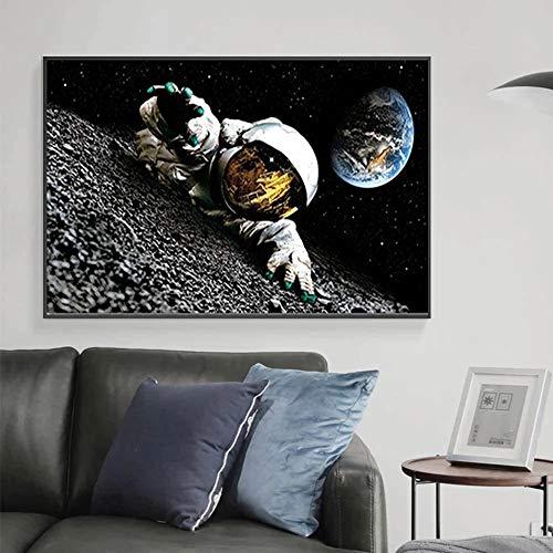JHGJHK Espacio Astronauta Arte de la Tierra Universo Abstracto Sala de Estar Pintura Decorativa Arte Mural Pintura al óleo Decorativa 1