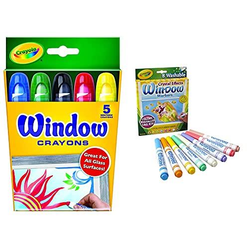 Crayola Washable Window Crayons - 5-count & Washable Crystal Effects Window Markers, 8 ct