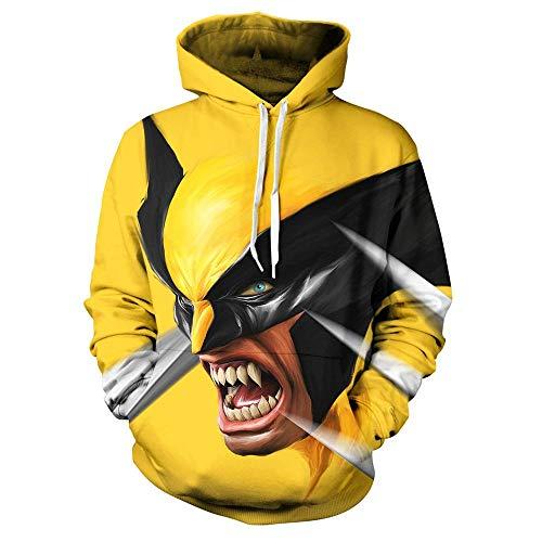 JHGJHG DC Comics Animado Camiseta de Batman 3D Digital de impresión Amarillo 3D con Capucha del béisbol del Desgaste,kid3