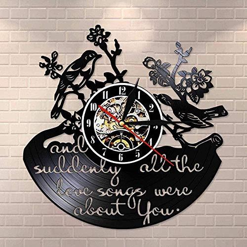 yltian De repente, Todas Las Canciones de Amor están ligadas a ti.Citas de inspiración.Reloj de Pared con Disco de Vinilo.Reloj de Pared Retro.Pájaros del Amor.