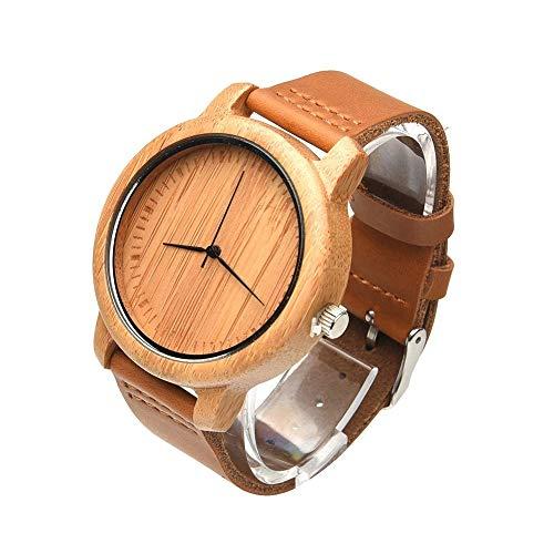 Gamogo Relojes de Mujer Relojes de Madera de bambú Natural Hechos a Mano analógicos Relojes de Cuarzo Minimalistas de Moda para Hombres
