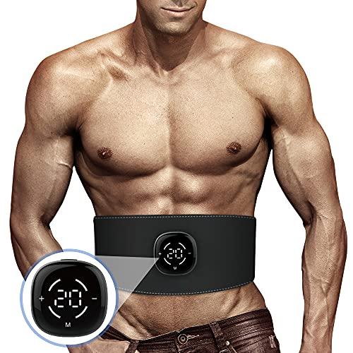 EMS 腹筋ベルト 筋トレ 腹筋パッド 液晶表示 タッチパネル 10種類モード 20段階強度 ジェルシート不要 USB充電式 多部位対応 男女兼用 日本語説明書