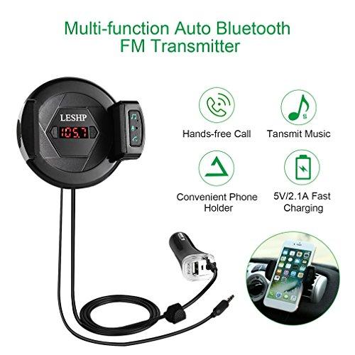 Leshp 3-in-1 Bluetooth FM Transmitter Kit met houder voor autoventilatoren voor iPhone Samsung en andere smartphones, USB-oplader, 5 V/2,1 A, audioondersteuning 3,5 mm AUX, handsfree met ingebouwde microfoon