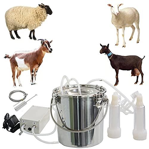 CJWDZ Milking Machine for Goats Cows, Pulsation Vacuum Pump Milker, Milking Supplies W/Stainless Steel Bucket, Portable Suction Machine for Jerseys, Nigerian Dwarfs, Nubian Mix (Goat, 7L)