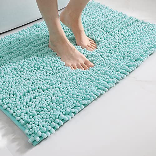DEXI Alfombrilla de baño Antideslizante,Alfombra Baño de Chenilla Suave Absorbente de Agua,Alfombras de Ducha de Microfibra esponjosa,Lavable a máquina (50 x 80 cm,Turquesa)