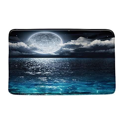 Moon Bath Mat Full Moon Over Sea Ocean Clouds Planet Star Sky Dreamy Night Scene Black Bathroom Decor Mat Set Soft Memory Foam Non Slip Backing 20X31 Inch