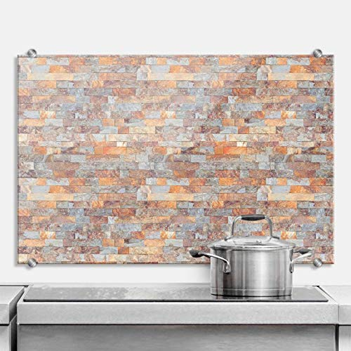 Spritzschutz Mauer 06 Küche Küchenrückwand Mauer Wand Steine Mauerziegel Backsteine braun orange grau mit Wandhalterung Wall-Art - 60x40 cm
