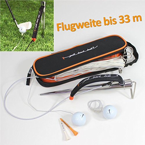 GOLF-BACK-BALL Driving Range Schwungtrainer Golfball Platinium One - mobiler Outdoor Golfschwung-Trainer mobil