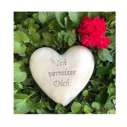 Radami Grabherz Grabengel Spruch - Ich vermisse Dich - Grabschmuck Grabdeko Trauerherz 12cm