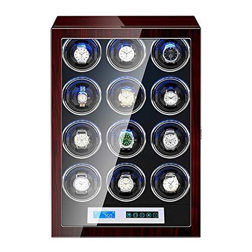 XIUWOUG Caja giratoria automática para relojes con iluminación incorporada, motor silencioso LCD, pantalla táctil para hombres y mujeres (tamaño: 12+0)