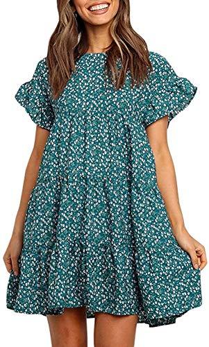 Chuanqi Womens Ruffles Boho Floral Printed Babydoll Loose Swing Casual Short Mini T-Shirt Dress Green