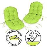 Spatium 2er Set Niedriglehner Auflage abnehmbar Bezug wasserdicht Sitz + Rücken gesteppt Stuhlkissen viele Größen zur Auswahl und Farben(2er Set 40 x 80 x 10cm Apfelgrün)