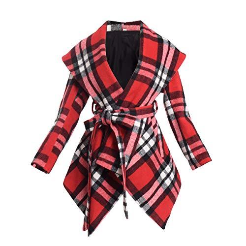 BPURB Women's Turn Down Collar Grid Coat Belted Wool Blend Coat Asymmetric Hem Wrap Coat
