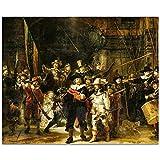 XUSANSHI Impresión de Lienzo Impresión de la Lona del Aceite Famoso Cuadro La Ronda de Noche de Rembrandt Art decoración de la Pared Pintura clásica de la decoración del hogar 60x90cm