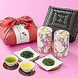 母の日 新茶 高級日本茶2種 備長炭火入れ 静岡茶 掛川茶 ギフト 竹かご入り プレゼント 風呂敷包み 母の日ギフト 川本屋茶舗
