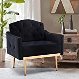JOYBASE Velvet Armchair, Mid Century Modern Accent Chair, Wood and Steel Armchair for Living Room, Bedroom (Black)