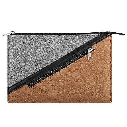 TiMOVO 13.3 Inch Tablet Laptop Sleeve Case Compatible with iPad Pro 12.9 2020, MacBook Air 13 Inch, MacBook Pro 13', Galaxy Tab S7+, Surface Pro X/7/6/5/4/3, Felt+PU Leather Protective Bag - Brown