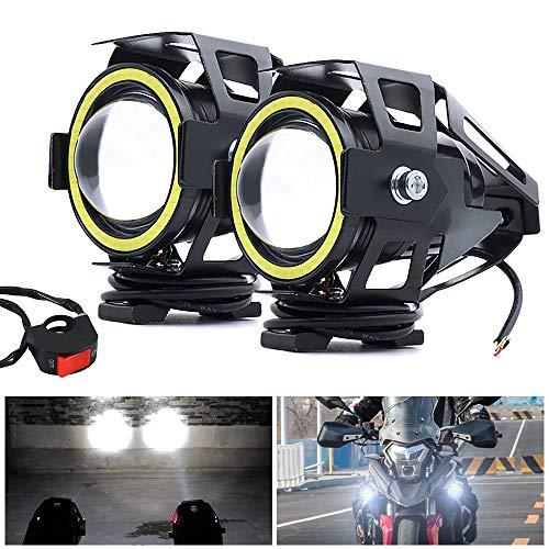 Biqing Fari Moto Faretto Anteriore Con TRAVE ALTO/BASSO, Universale U7 Fari Supplementari Moto LED Spotlight 12V 24V Motocicletta Lampada Antinebbia 6000K con Interruttore(Bianca)