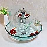 ZHQJY Vaso de baño de vidrio templado Fregadero CascadaGrifo de latón cromado Combo Conjunto de lavabo de vidrio de arte de peces de oro