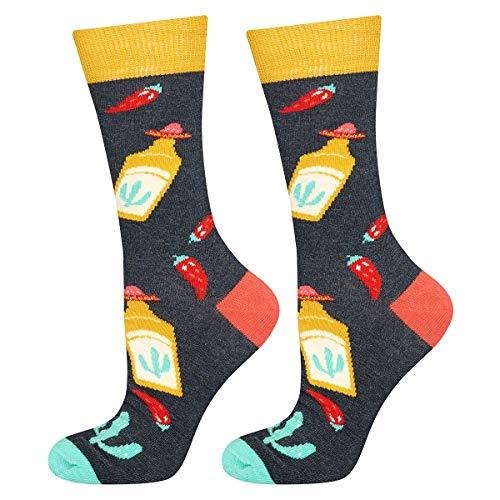 soxo Herren Bunte Muster Socken | Größe 40-45 | Motivsocken aus Baumwolle | Lustige Geschenk für Männer (Mexiko)