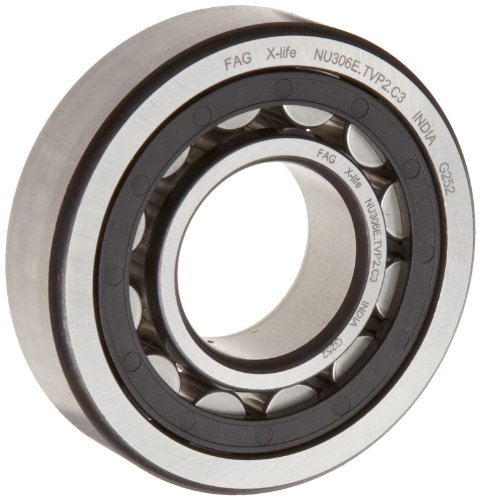 FAG NU305E-TVP2-C3 Cylindrical Roller Bearing, Single Row, Straight Bore, Removable Inner Ring, High Capacity, Polyamide Cage, C3 Clearance, 25mm ID, 62mm OD, 17mm Width