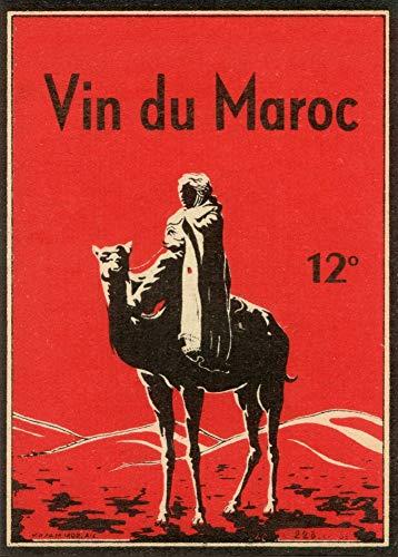 Vintage bieren, wijnen en sterke drank 'Marokkaans Wijn' 1931, 250gsm Zacht-Satijn Laagglans Reproductie A3 Poster