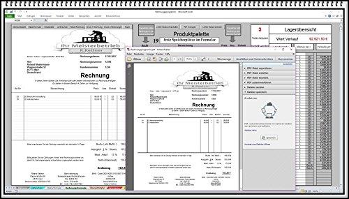 Rechnungsprogramm mit Lagerhaltung Faktura Software Rechnunssoftware auch 5% oder 16% MwSt Produktpalette, Kundendatenbank, Umsatzliste, Lieferscheine, Mahnwesen, PDF Versand auch für Kleinunternehmer