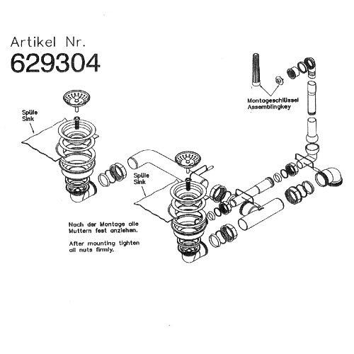Ab- und Überlaufgarnitur MANUELL für Schock Spülen Lithos D-150, Lithos D-200, Lotus D-150, City D-150, u.a. / handbetätigt