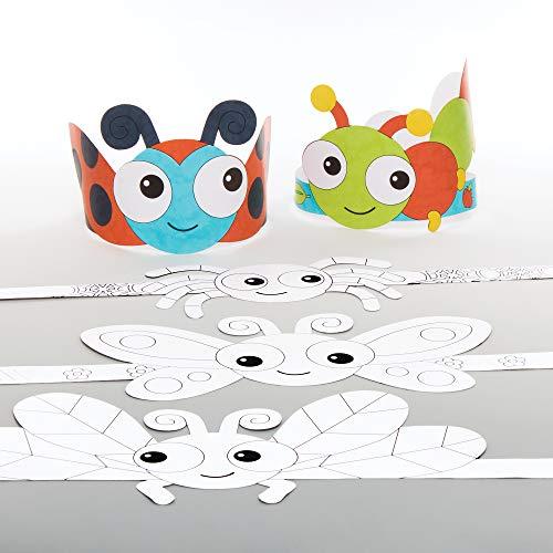 Baker Ross Käfer Kronen Bastelset für Kinder zum Ausmalen (8 Stück) Kreativsets zum Basteln und Dekorieren zur Frühlingszeit AT612