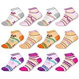MC.TAM® Mädchen Bunte Sneaker Socken 12 Paar 90prozent Baumwolle Oeko Tex® Standard 100, 27-30, 12 Paar Mädchen Sneaker