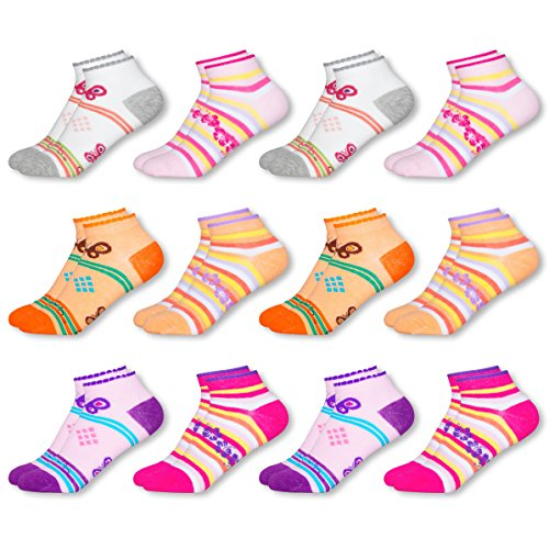 MC.TAM® Mädchen Bunte Sneaker Socken 12 Paar 90% Baumwolle Oeko Tex® Standard 100, 27-30, 12 Paar Mädchen Sneaker