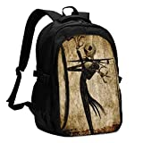 Nightmare Before Christmas Laptop Backpack Anti Theft Water Resistant Durable Computer Bag USB Charging Port Fits 15.6 Inch Laptop and Notebook College School Business Travel